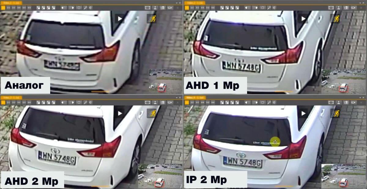 сравнение изображения с видеокамер разного разрешения